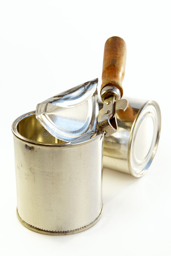 Tin Banks And Can Opener Stock Photography
