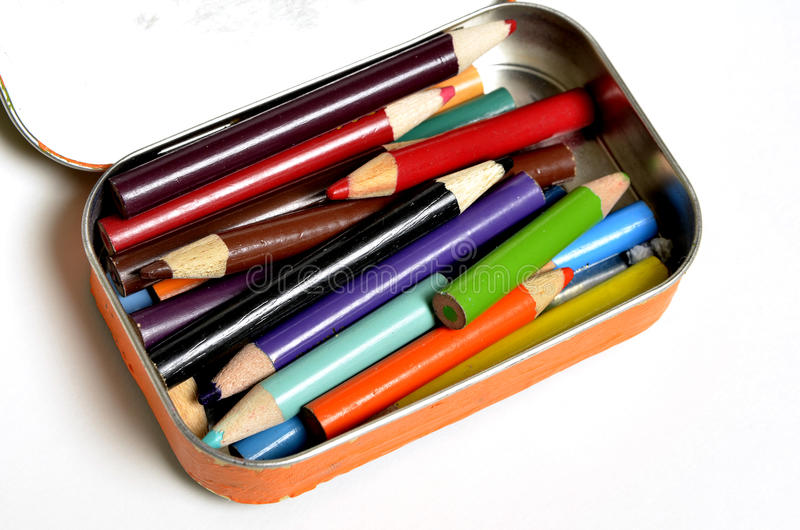 Tin Bin of Colored Pencils stock photos