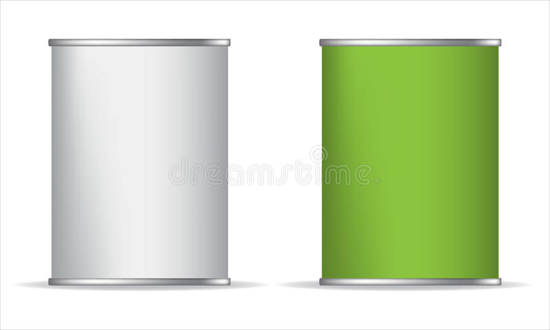 Tin box can packaging container vector illustration. Green White. Tin box can packaging container vector illustration on white background. Green and white stock illustration