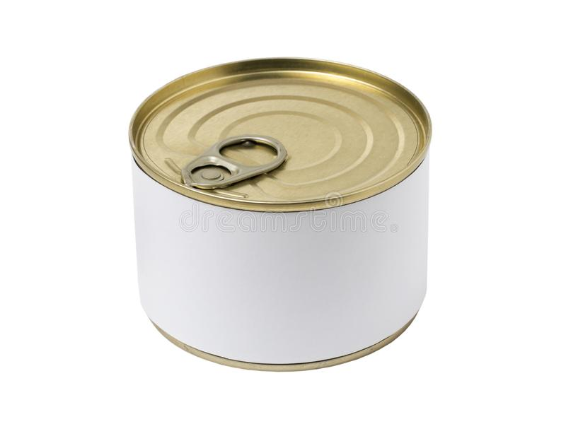 Tin can with blank label and with key on the cap stock images