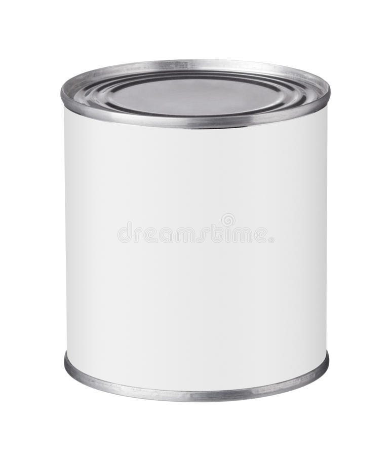 Tin can with a blank label. On a white background stock photos