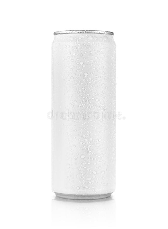Tin can with cool water droplet for drink beverage product design mock-up. Blank packaging white tin can with cool water droplet for drink beverage product royalty free stock images