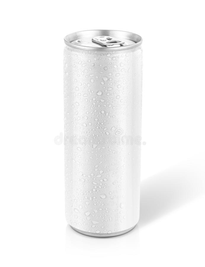 Tin can with cool water droplet for drink beverage product design mock-up. Blank packaging white tin can with cool water droplet for drink beverage product stock image