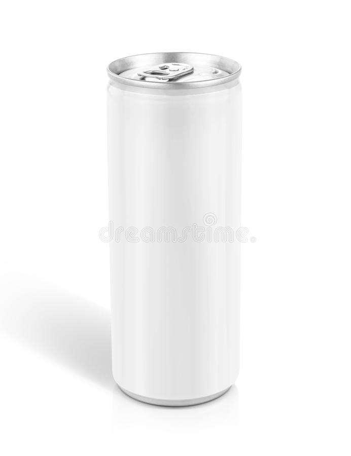 Tin can for drink beverage product design mock-up. Blank packaging white tin can for drink beverage product design mock-up isolated on white background with stock images
