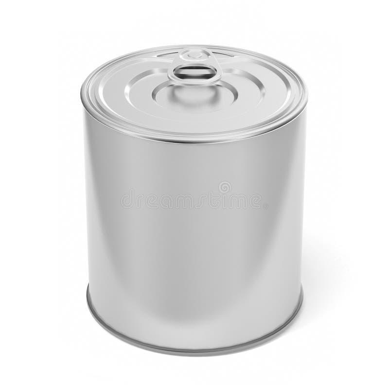 Tin Can Food Packaging bianco in bianco per progettazione alta di derisione illustrazione 3D illustrazione vettoriale