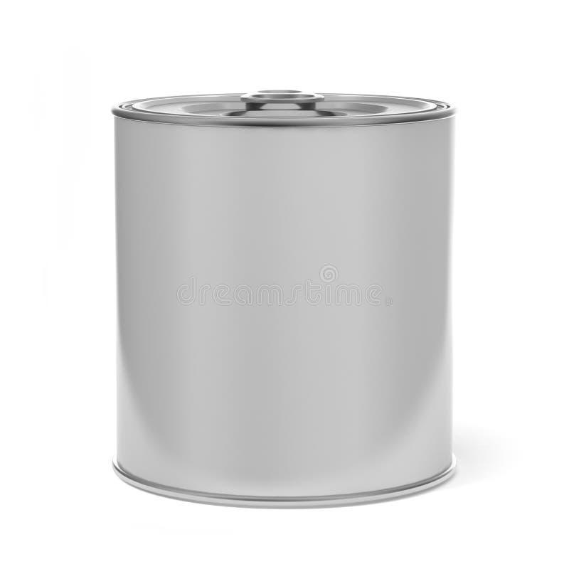 Tin Can Food Packaging blanco en blanco para el diseño ascendente de la mofa ilustración 3D stock de ilustración
