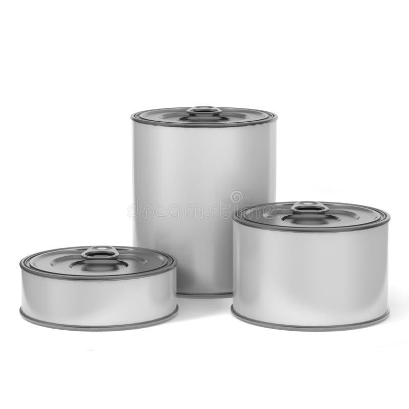 Tin Can Food Packaging blanco en blanco para el diseño ascendente de la mofa ilustración 3D ilustración del vector