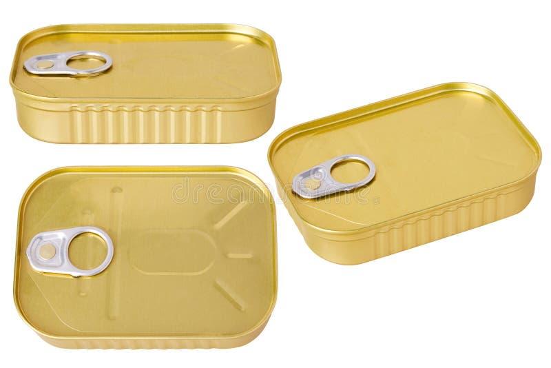 Aluminium tin can conserve isolated. Tin can isolated on a white background. Aluminium tin can conserve stock photo