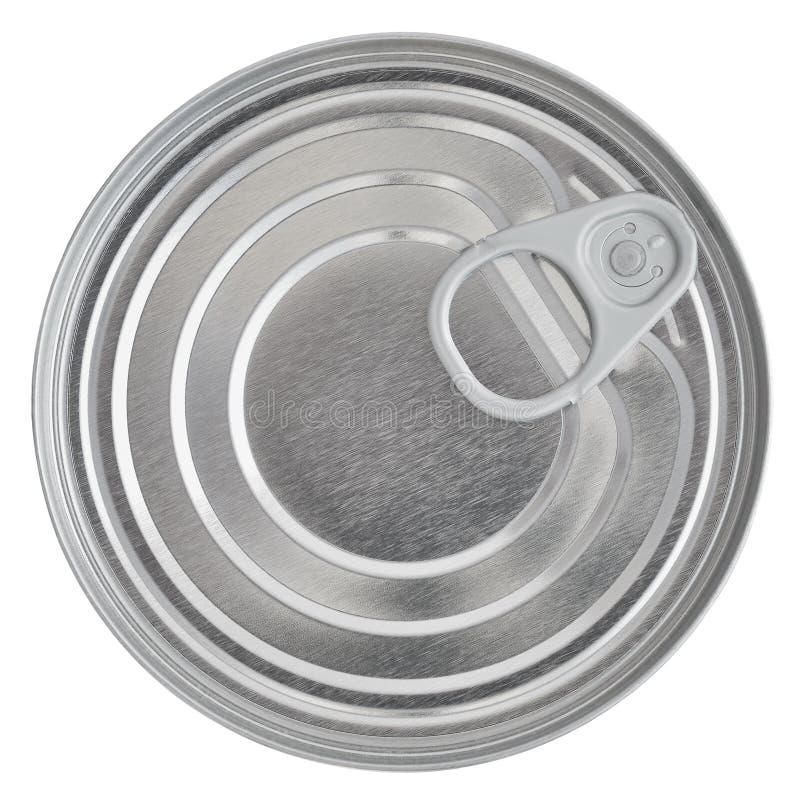 Tin Can Lid, parte superior selada cartucho de Ringpull da conserva do alimento, isolada imagem de stock royalty free