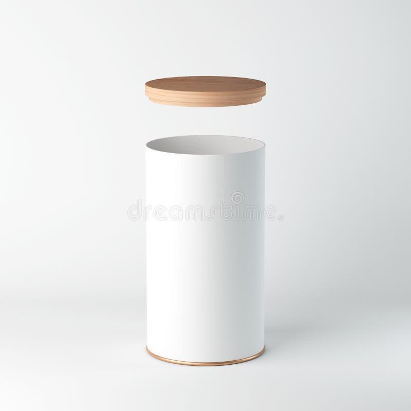 Tin Can Mockup branco com tampa de madeira, tampa Empacotamento cilíndrico, chá, café ilustração royalty free