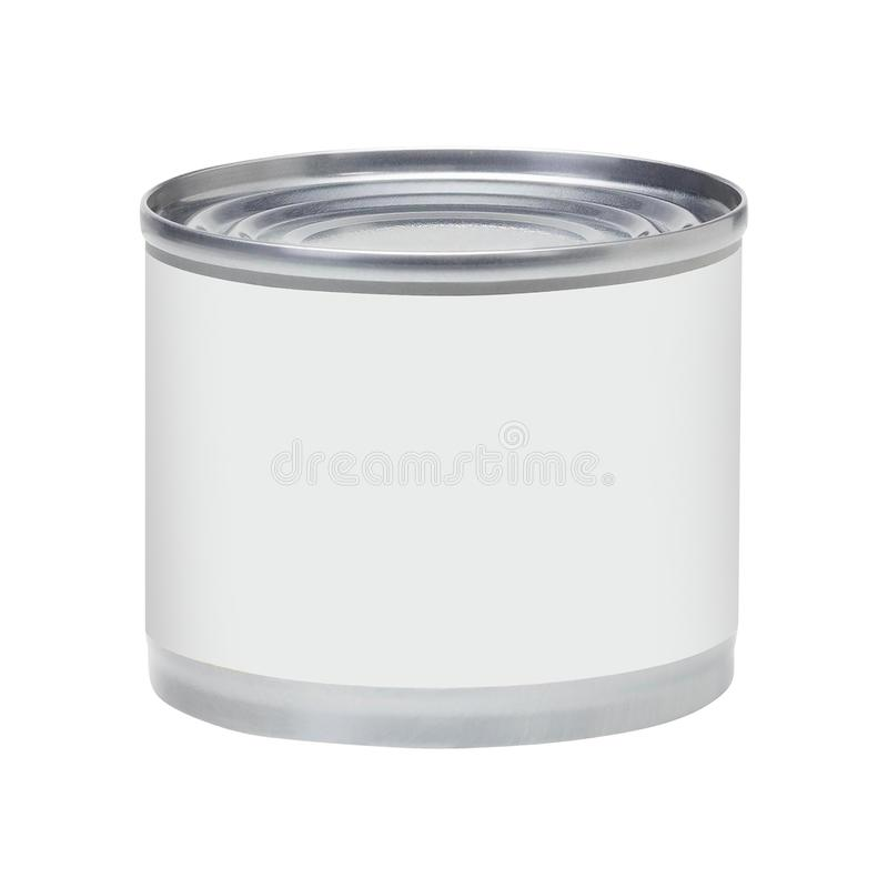 Tin can with no label isolated on white royalty free stock photography