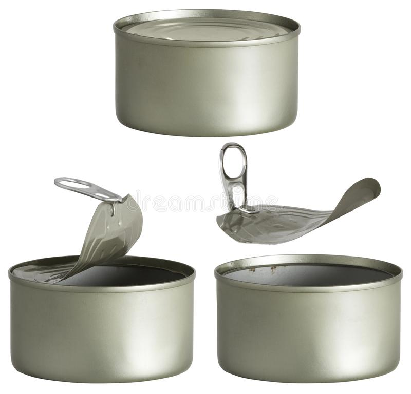 Tin Can, Opened and Closed Metal Tin Cans White Isolated. Tin Can, Opened and Closed Metal Tin Cans Isolated over White background royalty free stock photo