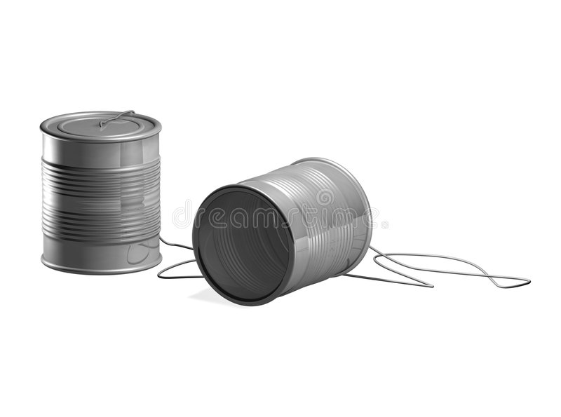 Tin can phone royalty free illustration