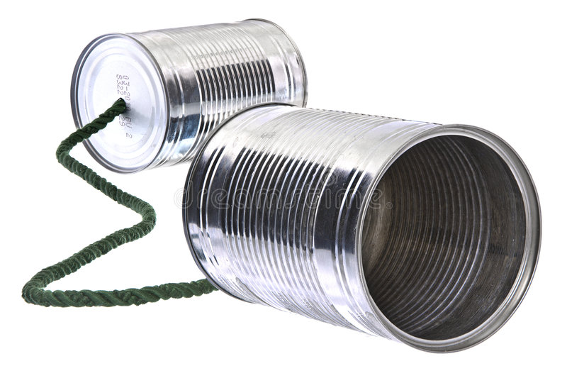 Tin can phone stock image