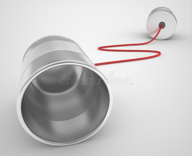 Tin can phone with red cable royalty free illustration