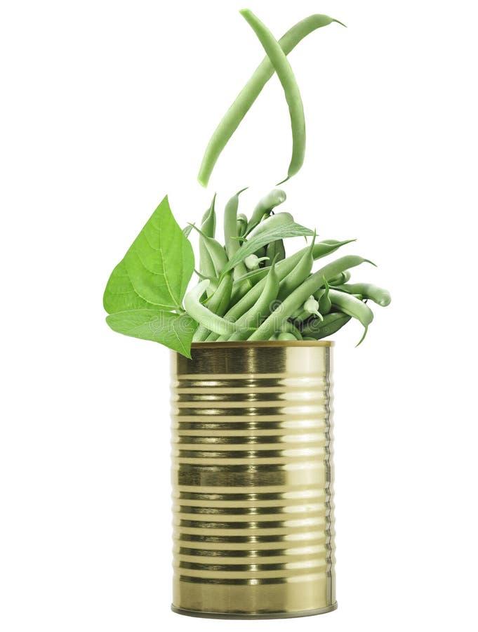 Tin Can With Raw Green-Bohnen stockfotos