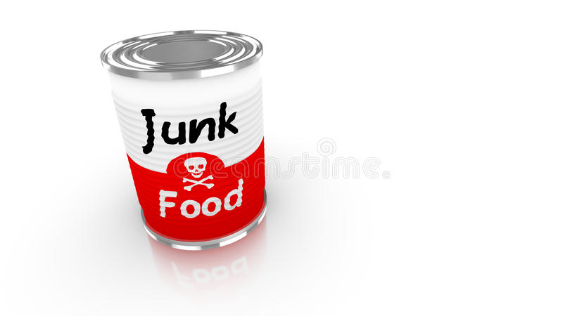Tin can with red and white junk food label stock illustration