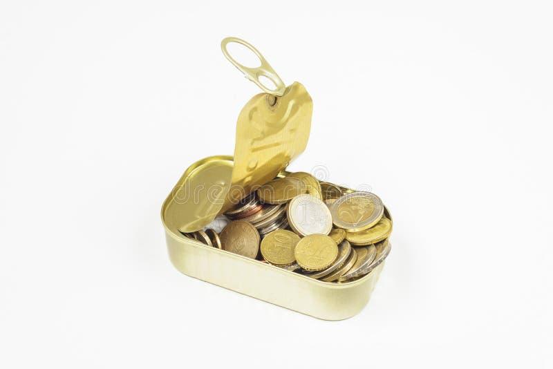 Tin Can-vissen met veel muntstukken royalty-vrije stock afbeelding