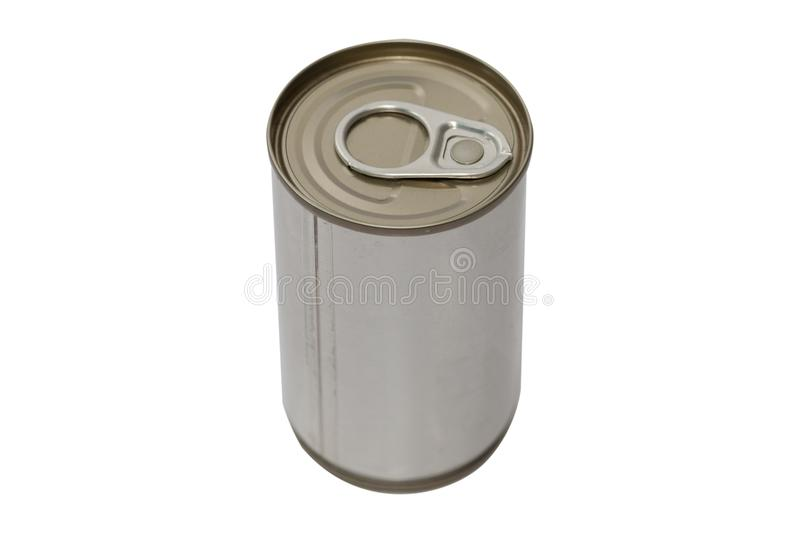 Tin canned food. Isolated on white background stock images