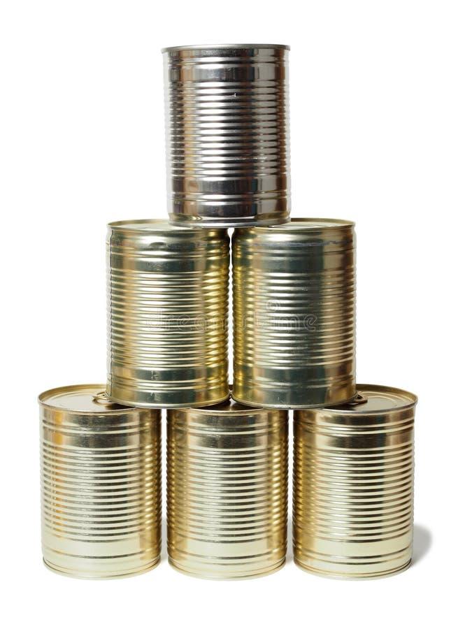 Tin Cans auf Weiß stockbild