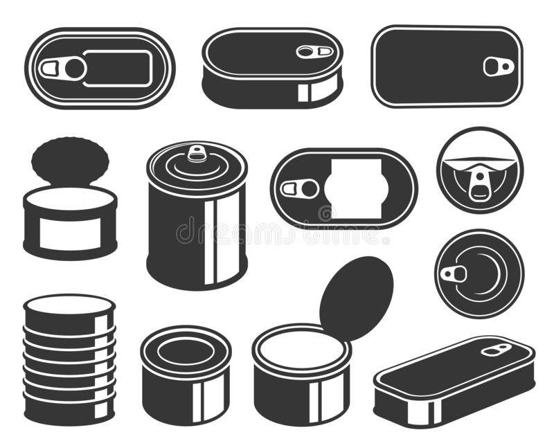Tin cans black glyph icons vector set stock illustration