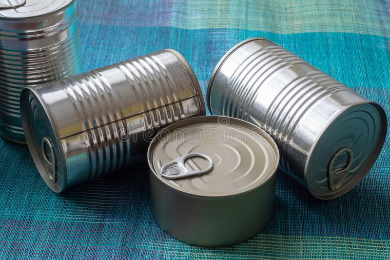 Tin cans with food. Conserved food. stock photography