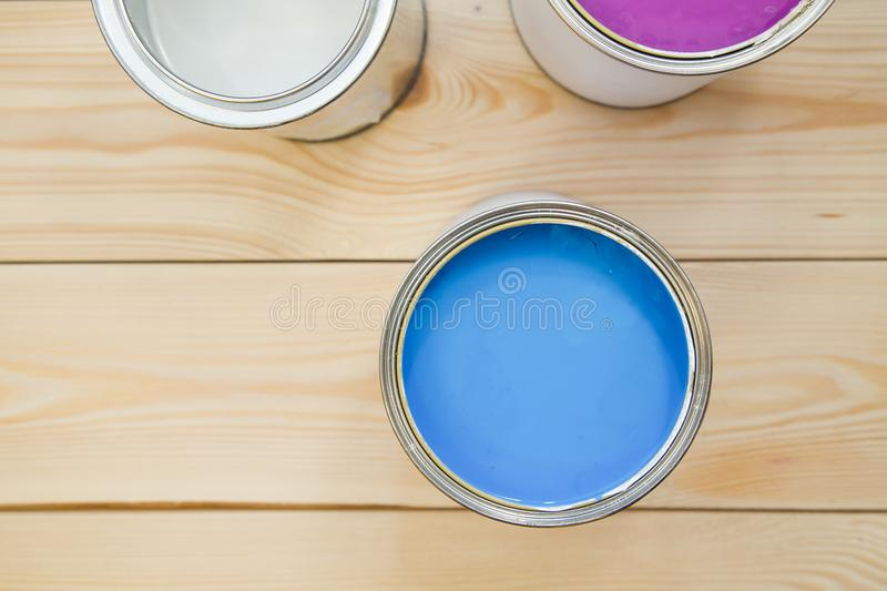 Tin cans of household paint stock photo