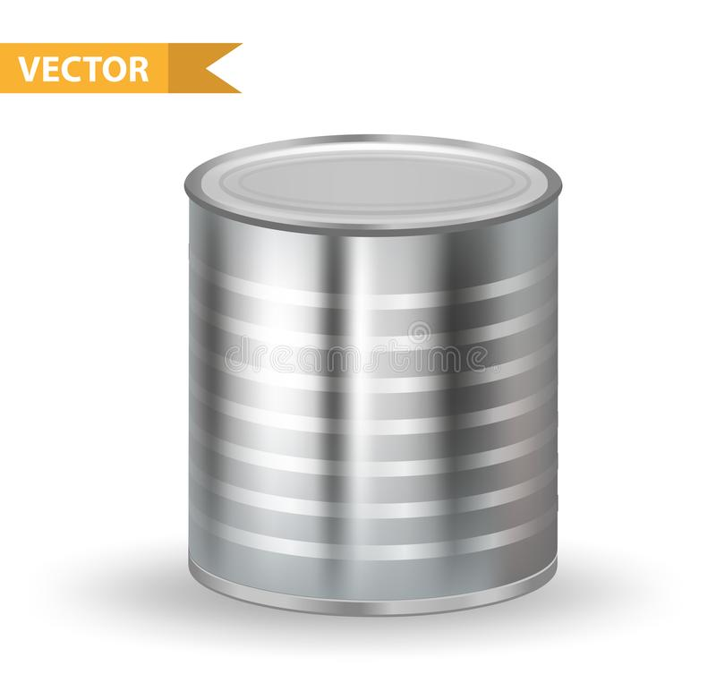 Tin Cans metallico realistico 3d inscatola i contenitori Isolato su priorità bassa bianca Progettazione del modello per il vostro illustrazione vettoriale