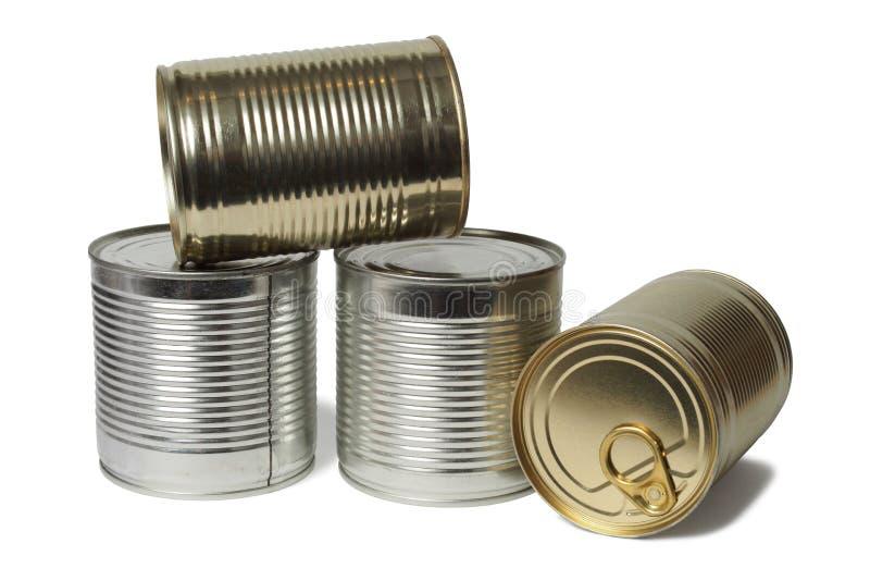 Tin Cans no branco foto de stock royalty free