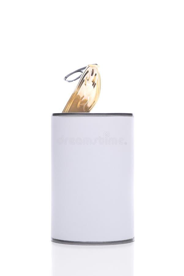 Tin Food Can con la tapa del top del estallido abierta foto de archivo libre de regalías