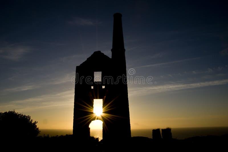 Tin Mine Ruin at Sunset royalty free stock photo