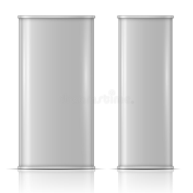Tin oil can, front and side view stock illustration