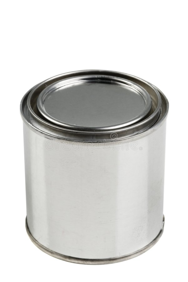 Tin paint can on a white background royalty free stock image