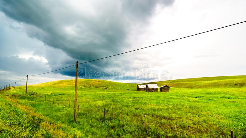 Barns in the Grass Lands of the Nicola Valley in British Columbia, Canada. Tin Roofed Barns in the wide open Grass Lands of the Nicola Valley, along Highway 5A royalty free stock photo