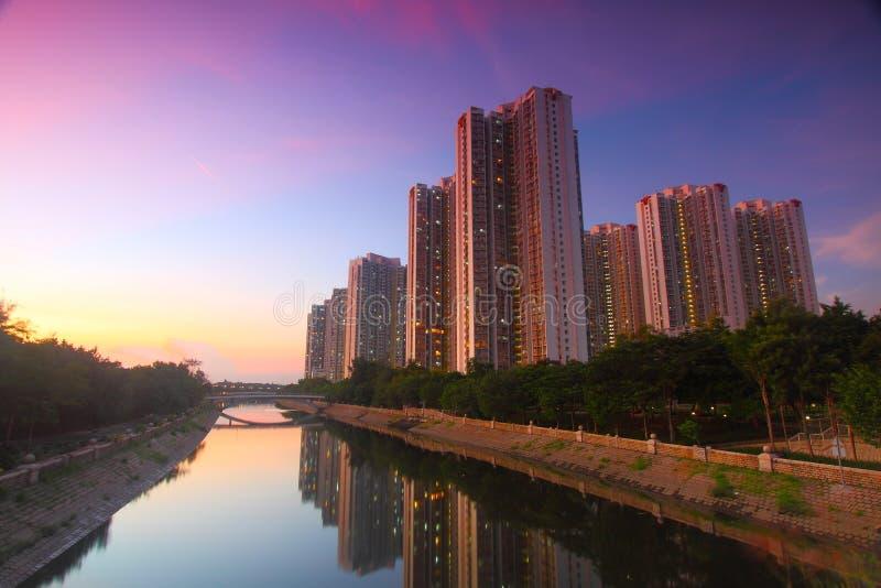 Tin Shui Wai downtown at sunset in Hong Kong royalty free stock photos