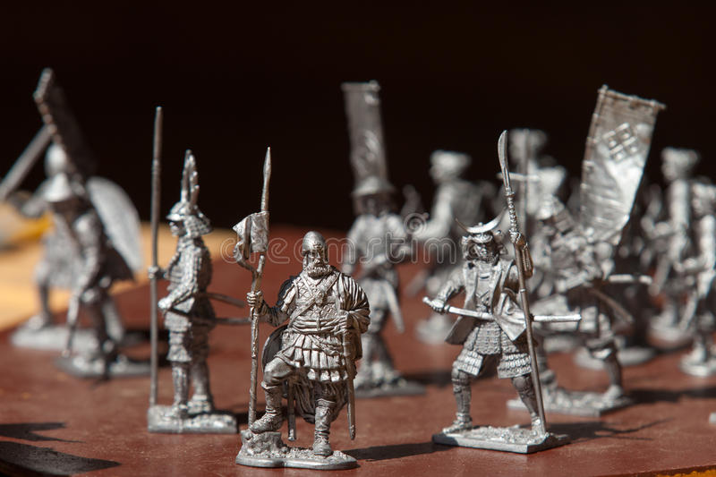 Tin soldiers. A toy soldier made of metal. Close up. Tin soldiers. A toy soldier made of metal stock photo