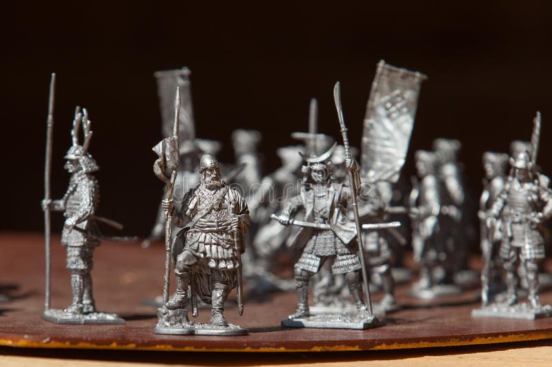 Tin soldiers. A toy soldier made of metal. Close up. Tin soldiers. A toy soldier made of metal royalty free stock photos