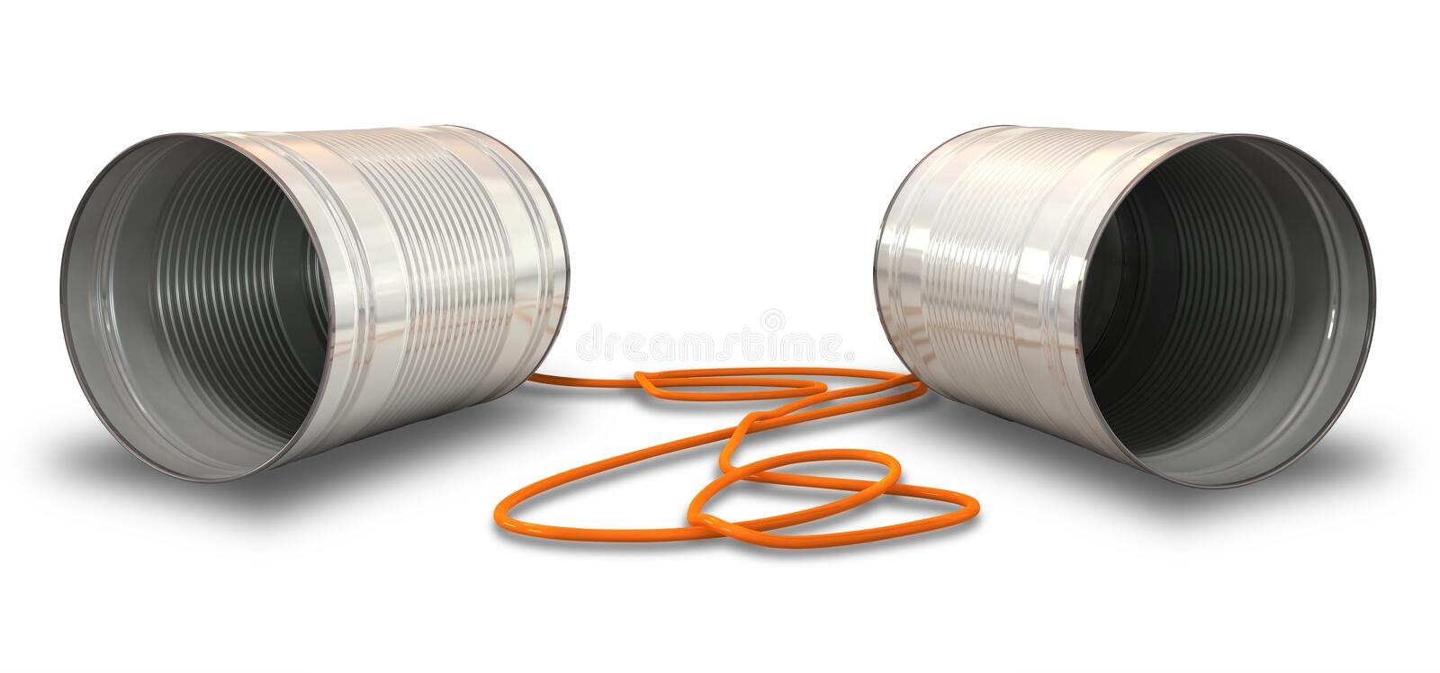 Tin Telephones. A pair of homemade telephones made from tin cans and connected wth a red cord stock photos