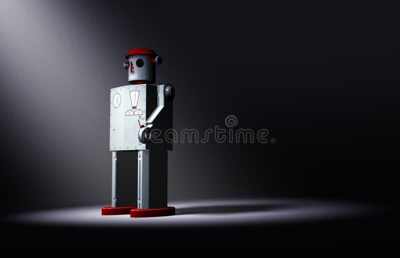 Tin Toy Robot Faces The Light seul et vieux illustration stock