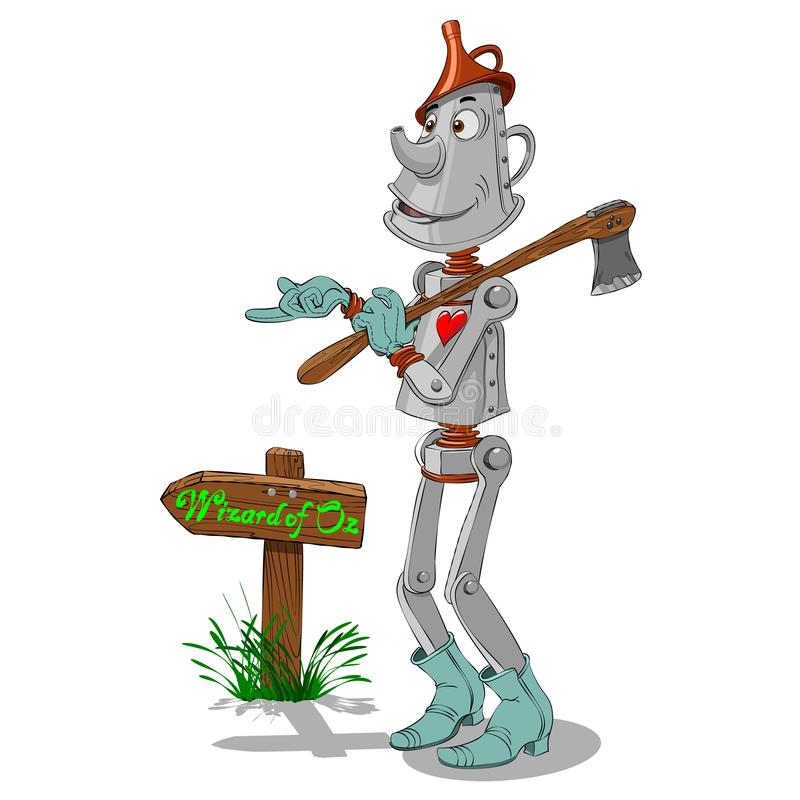 Tin woodman points the way to the wizard of Oz stock illustration