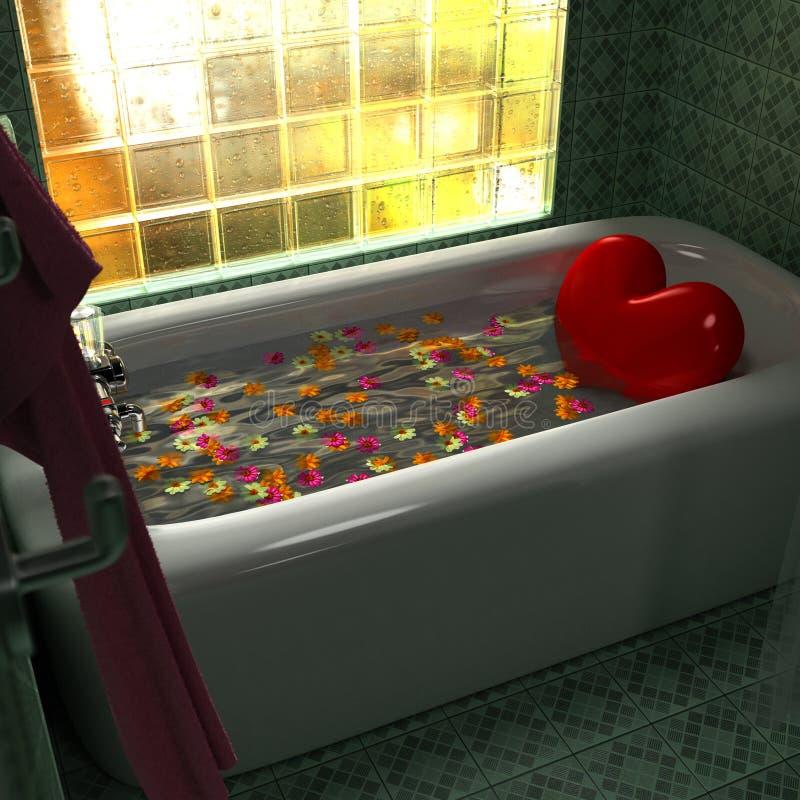 Tina de baño del corazón ilustración del vector