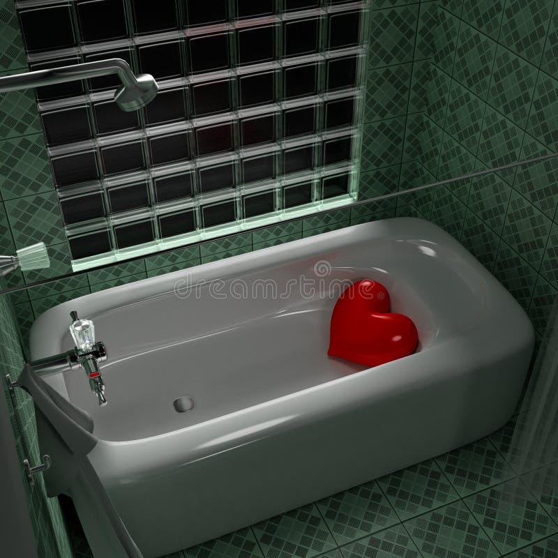 Tina de baño del corazón stock de ilustración