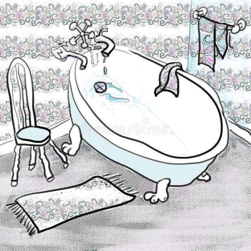 Tina y silla tontas. stock de ilustración