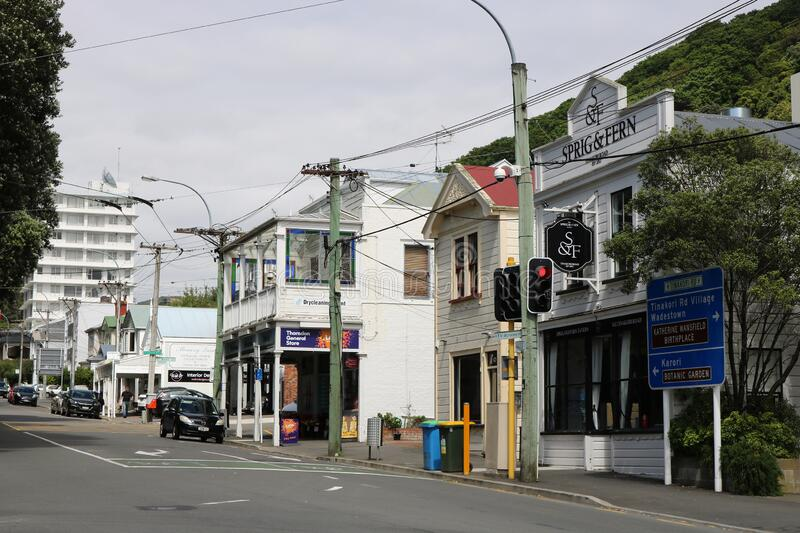 Tinakori Road, Thorndon, Wellington, New Zealand. View along Tinakori Road in Thorndon, Wellington, North Island, New Zealand with St Mary Street on the right stock photography