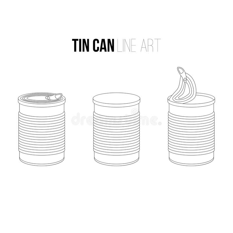 Tincan, canned food line art icons on white tin. Outlines objects set stock illustration