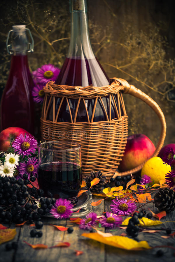 Tincture κουζινών φθινοπώρου chokeberry τρύγος τοπίου στοκ εικόνες με δικαίωμα ελεύθερης χρήσης