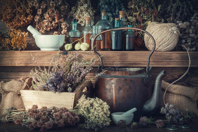 Tincture bottles, healthy herbs, mortar, curative drugs, old tea kettle on wooden shelf. Tincture bottles, assortment of dry healthy herbs, mortar, curative stock photography