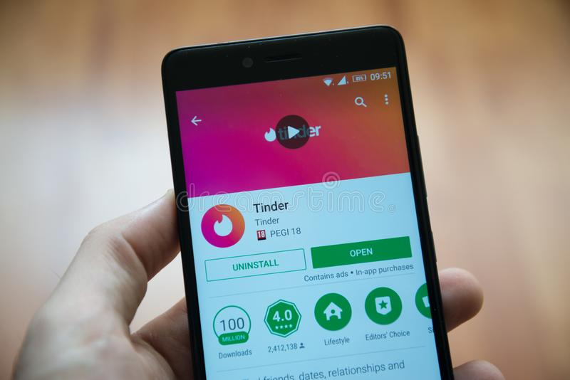 Tinder Application In Google Play Store Editorial Stock