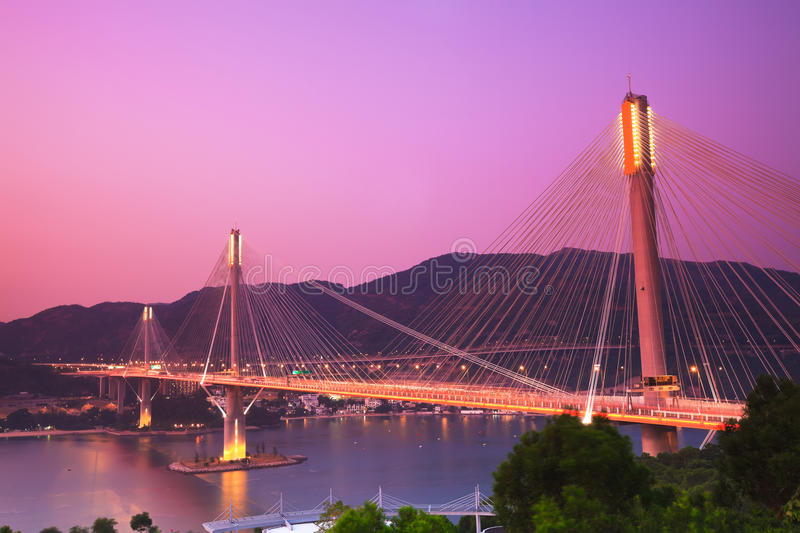 Ting Kau Bridge. Cable-stayed bridge in Hong Kong royalty free stock images