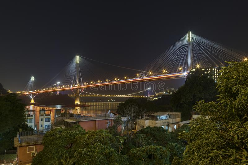 Bridge in Hong Kong at night royalty free stock photo